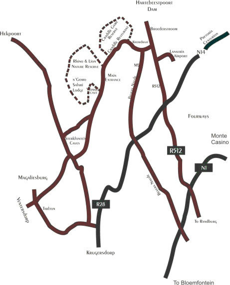 Kromdraai Road Johannesburg Map Direction on